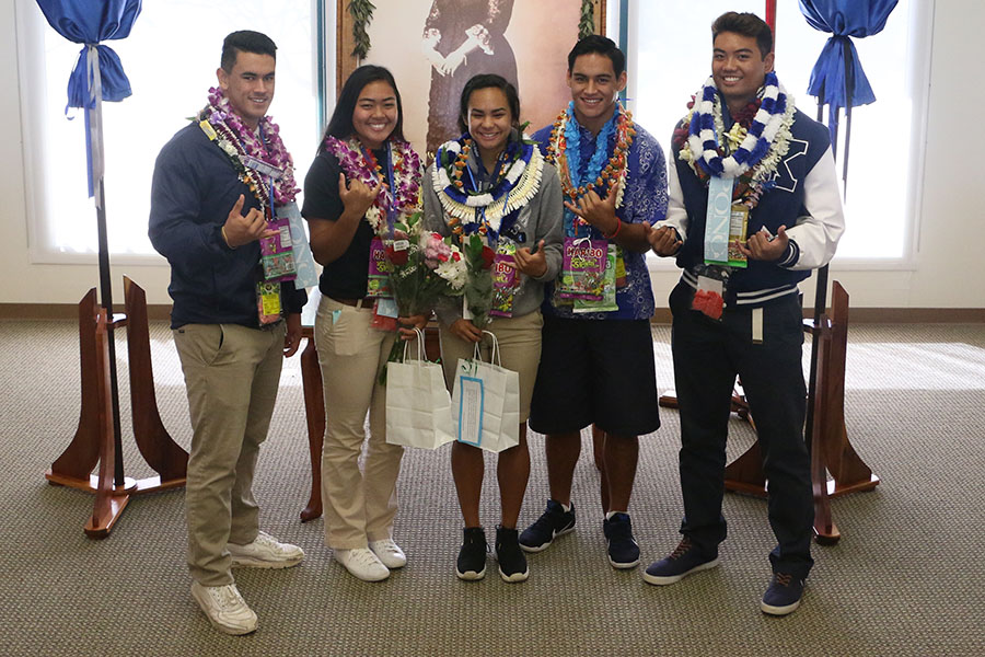 Five seniors signed their national letters of intent Wednesday, May 3 with family and friends attending the signing in the Charles Reed Bishop Learning Center at Kamehameha Schools Maui.