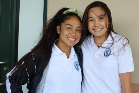 Senior Mākena Pang and freshman sibling Noelani Kahoʻopiʻi planned matching outfits for the day.