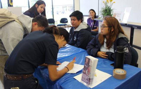 Seniors Makamae Aquino and Dylan Falces sign up volunteers for the Big Brothers Big Sisters after-school program.