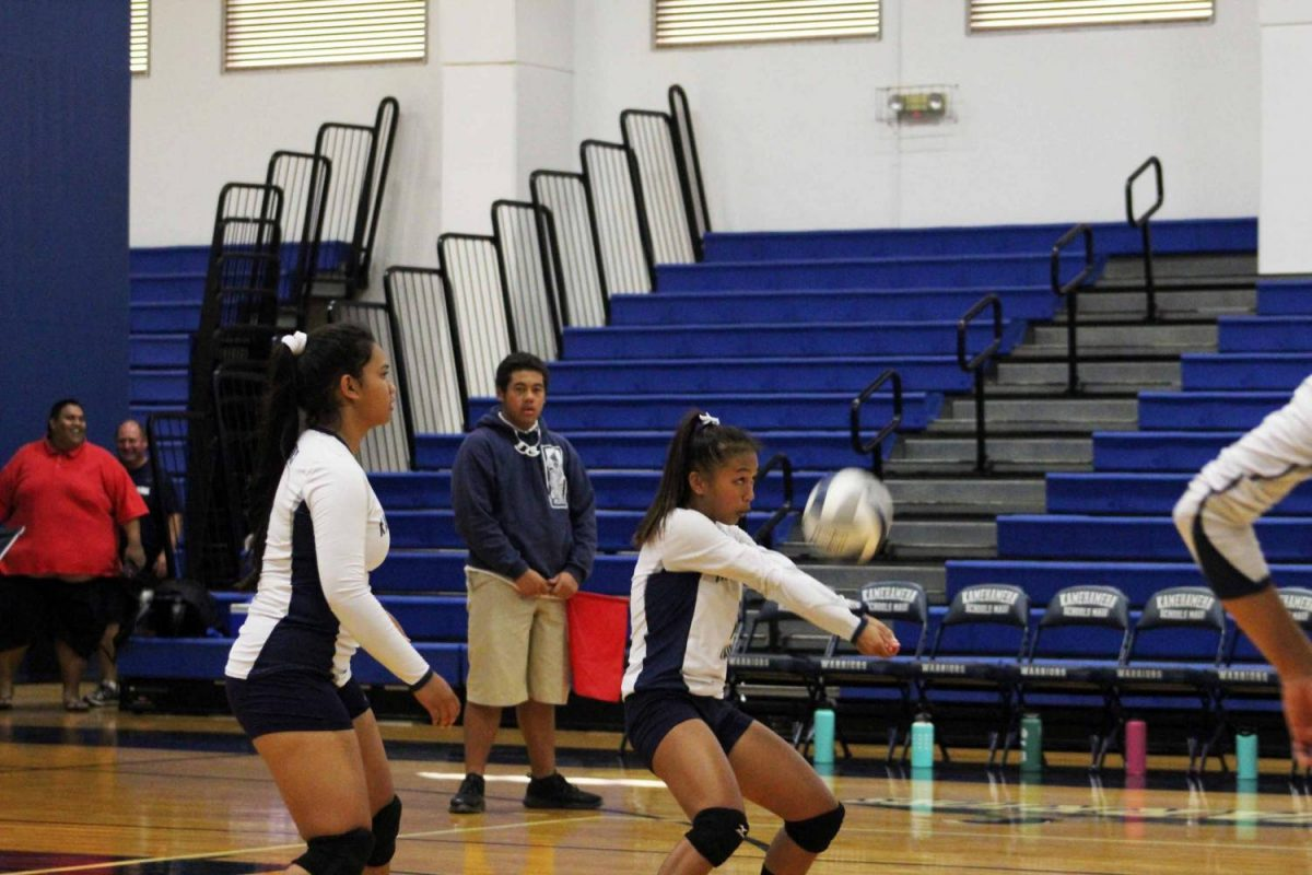 Freshman+Savannah+Dagupion+passes+the+ball+to+the+setter+during+the+first+set.