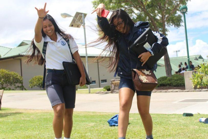 Seniors Inez Garcia and Mākena Pang skank in the quad at lunchtime, Monday. The Associated Students of Kamehameha Maui has announced plans to host both small and large events at lunch to promote school spirit.