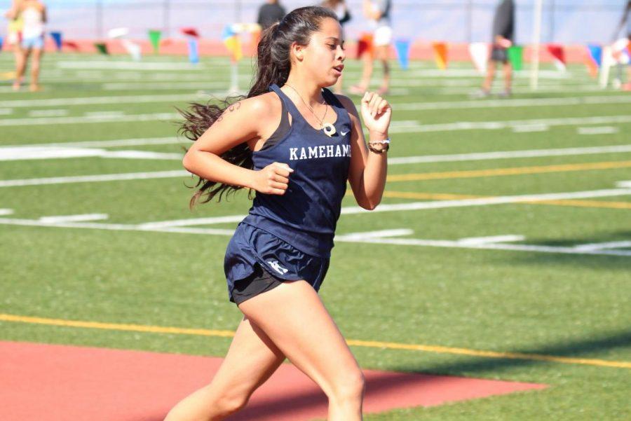 Junior Kamahie Baricuatro finishes the last 400 meters of the race at MIL Race #3 at Kamehameha Maui, Saturday.