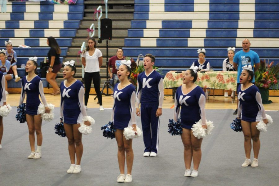 The+Kamehameha+Maui+cheer+team+starts+their+routine+at+the+Maui+Interscholastic+League+championships+Nov.+28+at+Maui+High+School.+They+place+third+behind+the+Baldwin+Bears+and+Maui+High+Sabers.+