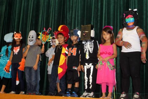 "The elementary students stand on stage to showcase their costumes to the ""paparazzi,"" their parents."