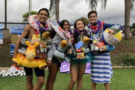 Seniors Deven Aruda, Riann Fujihara, John Williamson, and myself celebrate our senior day.