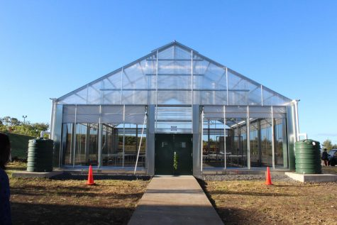 Hale Uliulimau resides outside Mr. Iwamura's classroom. The greenhouse will give his agriculture class hands-on experience with horticulture.