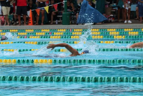Sophomore Lilio sprints the final 25 of his 500 freestyle race.