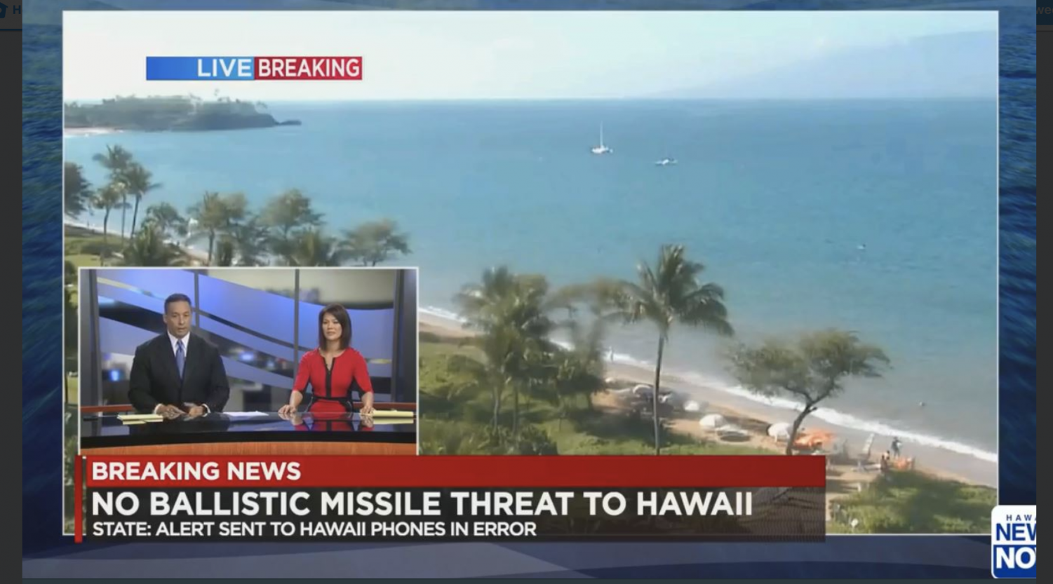 Hawaiʻi News Now promotes their coverage of the false ballistic threat alarm via Twitter after human error resulted in a statewide alert Saturday, Jan. 13, at 8:07 a.m. HST. State agencies were quickly criticized in the social and mainstream media not only for the error itself, but also for the length of time it took to clear it up and the means by which information was communicated to residents.