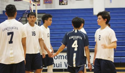 JV boys volleyball comes together after their last game against Lahainaluna.