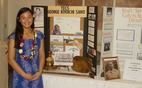 Junior Kayleen Lau shares the research that she did on the life of Nisei soldier George Kiyoichi Sano at a public lecture series, hosted by the Maui Nisei Veterans Memorial Center at the Kahili Golf Course. She completed the research and presentation with the assistance of her adviser, high school librarian Mrs. Ramona Ho.