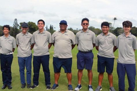The boys golf team. Jordan Mitsumura and Dane Abarra competed in the HHSAA Boys Golf Tournament on Oʻahu, May 9-11.