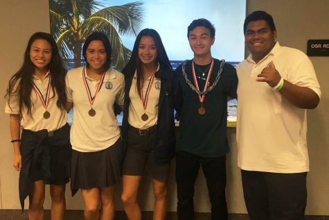 Juniors Keely Logan, Kiana Over, freshman Teija Tuitele, and seniors Hunter Worth and Micah Au-Haupu bring home medals from the 2018 HHSAA track and field competition.