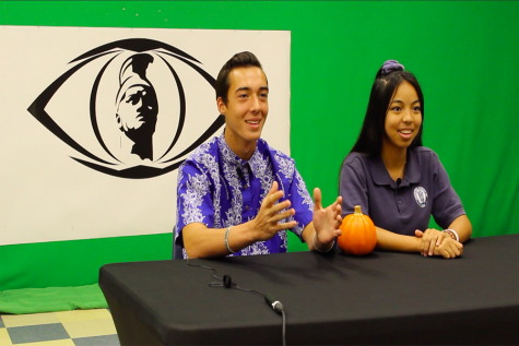 Gabriel Arcas and Raelynn Yoshida host the morning broadcast, Friday, November 1. The hosts of the show vary from week to week, and others who have hosted include Sofia Stupplebeen, Max Bielawski, Pearl Bachiller, and Ethan Fisher, with senior Marie Abihai making regular appearances to do the morning devotional and prayer.
