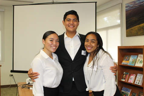 "Seniors Taylor Morita, Elijah Vendiola, and Janae-Mika ""Kanoe"" Kahahane are all smiles after finishing their Hōʻike Nui presentations, Friday, November 8. After a stressful day presenting to staff and the community, seniors were treated to ice cream in Keʻeaumokupāpaʻiaheahe."