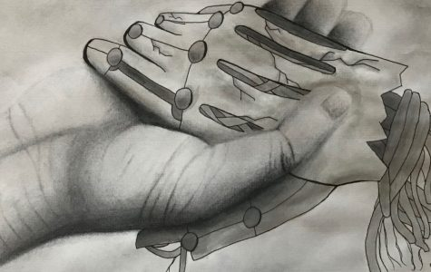 'Holding on to Hope' is a graphite artwork by junior Connor Viela, who works in grayscale and color despite color blindness.