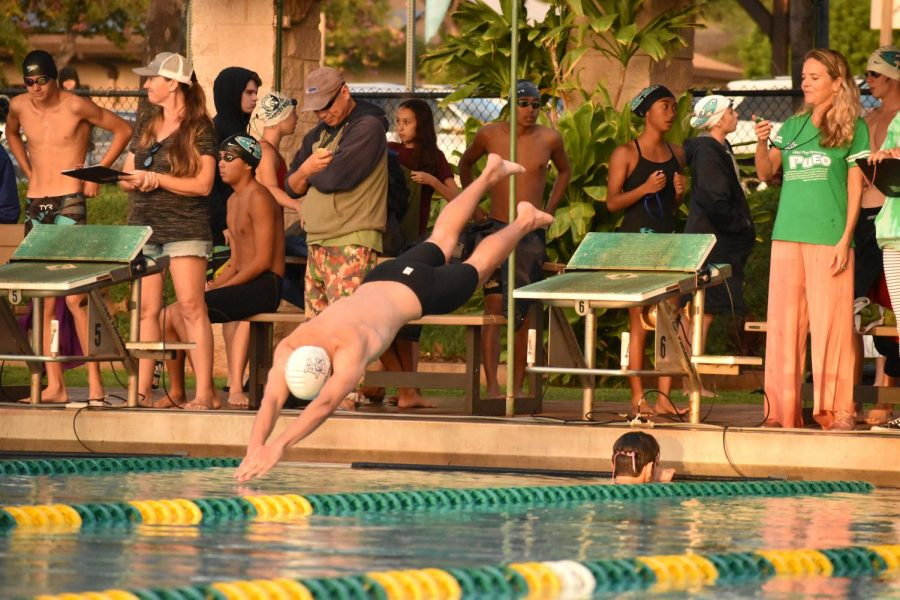 Senior Jonah Miller dives into the pool for the 50-yard freestyle. He ended up placing midfield with a time of 26.44, about four seconds off the lead.