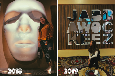 Me at the Jabbawockeez mask and sign at the MGM Grand in Las Vegas. The show entrance is in the merchandise store.