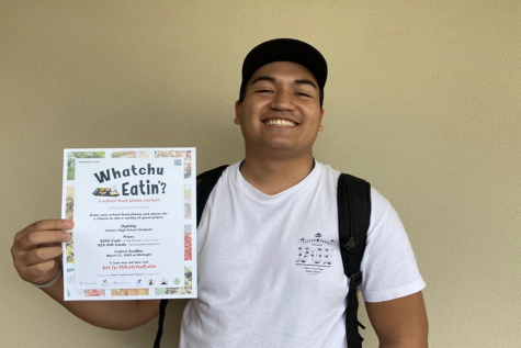 Junior Chase Manosa is excited about the submissions for the statewide school food photo contest, Watchu Eatinʻ? Winners are awarded $200 cash or $25 gift cards, and the deadline has been extended to April 15.