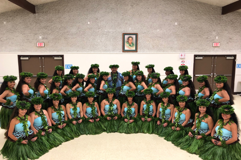 "Hālau O Ka Hanu Lehua smiles with joy after performing ""Hanohano ʻO Maui Nui A Kama"" at the 2019 Merrie Monarch Festival. Look, there I am!"