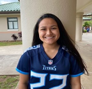 Sophomore Naliko Cabanilla shows off her Tennessee Titans Derrick Henry jersey, showing off her dedication to her favorite sports team.