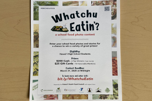 The advertisement flyer created by Manosa's partners. The flyers were posted around the KSM campus and shared on social media to encourage participation in the Watchu Eatinʻ? food photo contest.
