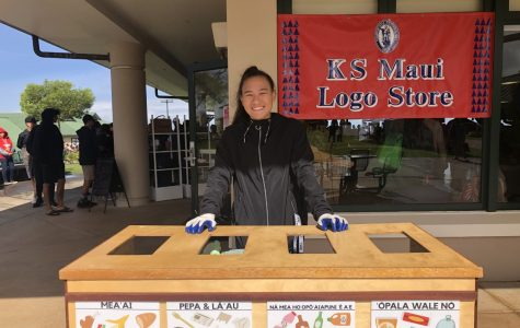 Sophomore Berilyn Lau mans one of the zero-waste stations at the 16th Annual Kamehameha Maui Hoʻolauleʻa. This year's event had a zero-waste goal, with all food service take-out items being compostable.