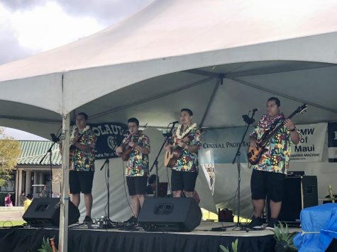 Nā Wai ʻEhā perform for the Hoʻolauleʻa crowd.