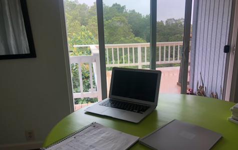 The first week of distance learning is over. This is Arianna Rios's work area at home. Students have been asked to work at a table in a quiet setting in order to focus.