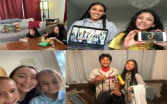 KSM students demonstrate patience through various activities inspired by the value of the month campaign. Top left: Senior Jayci Bulosan and her sister Saydi watch a movie. Top right: Junior Amaya Genovia displays the Netflix show that she's watching while her sister is keeps up with all the TikTok trends. Bottom left: Freshman Caroline Sloper and her two sisters enjoy a break from their online classes. Bottom right: Sophomore Taylor Aloy and her brother Duke display how they go to the beach during quarantine.