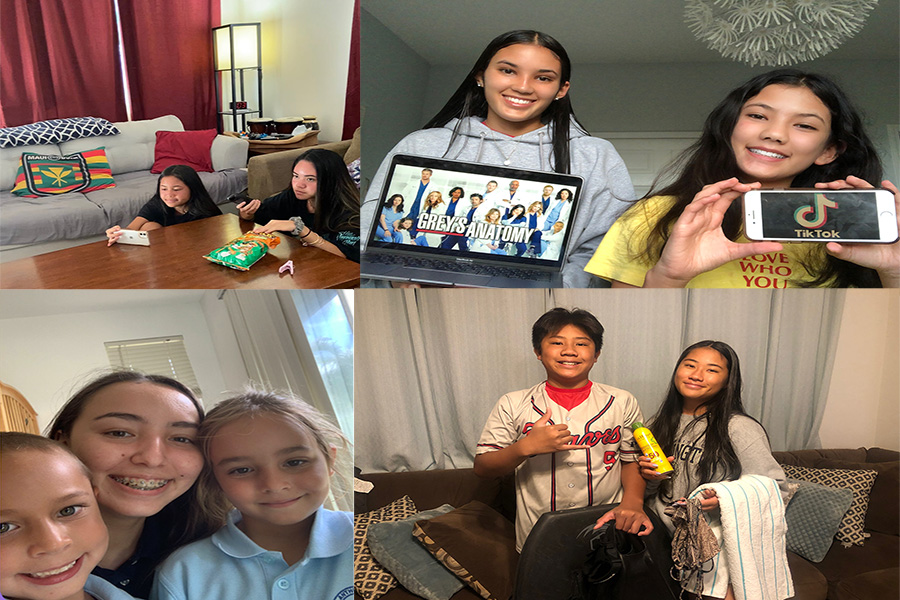 KSM students demonstrate patience through various activities inspired by the value of the month campaign. Top left: Senior Jayci Bulosan and her sister Saydi watch a movie. Top right: Junior Amaya Genovia displays the Netflix show that she