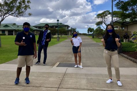 Seniors Hinano Lovell, Kiha Kahalehau, Savannah Rose Dagupion, and Teilana Akre show how to properly distance socially on their first day back to school, October 19, two months after the official start of school.