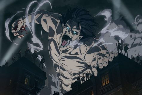 Eren Yeager in his transformed state as the Attack Titan, along with members of the Survey Corps, attack Liberio after Willy Tybur declares war on Paradis.