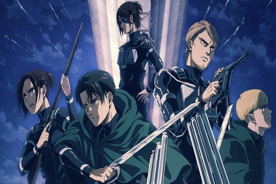 Sasha Braus, Squad Captain Levi Ackerman, Commander Hange Zoë, Jean Kirstein, and Armin Arlert are members of the Survey Corp from the island of Paradis. They Use omni-directional mobility gear to maneuver around buildings. The gear was originally designed to combat titans, but is used in many scenarios throughout 'Attack on Titan.'